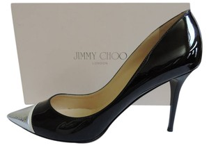 Jimmy Choo Bahama Cap Toe BLACK/SILVER Pumps