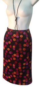 MODA SETA Pokadot Silk Skirt BLACK MULTI