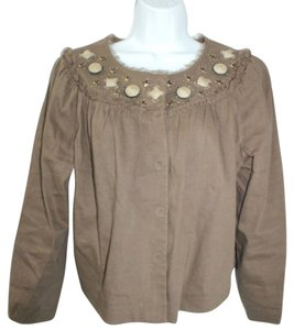Elie Tahari Cropped Linen Top BROWN