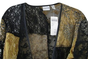 Chico's Holiday Size 2 Top Black and Gold