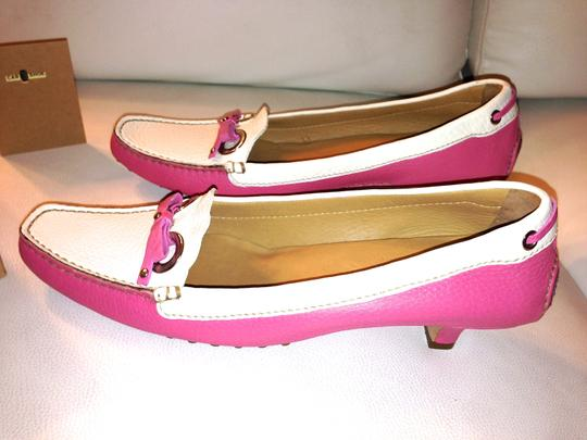 The Original Car Shoe Loafers Luxury Genuine Genuine Leather Tod's Prada Miu Miu Heels Leather Louis Vuitton Hermes Saint Laurent Chanel Pink/White Pumps