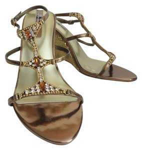 Marichi Mani Open Toe Slingback Wedge Gold Sandals