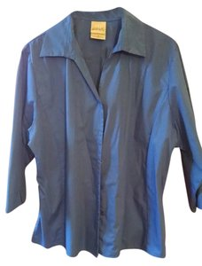 Gabrielle Rhodes Womens Free Shipping Plus Sized Button Up Collared Stretch Poplin New Size 1x Size 20 Size 18 Button Down Shirt Blue