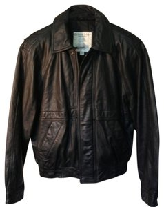 London Fog Leather Bomber Jacket Coat