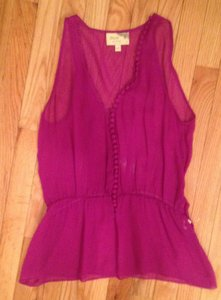 Elizabeth and James Peplum Silk Top Magenta Purple