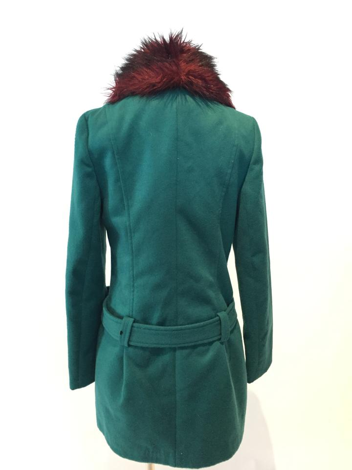 French Atmosphere Emerald Green Faux Collar Coat Size 10 (M) - Tradesy af56e91f9