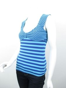 Anthropologie Moth Striped Stretch Shirt Tank Small Top Blue