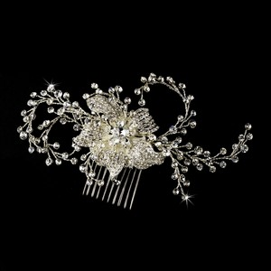 Couture Rhinestone & Crystal Flower Wedding Bridal Comb