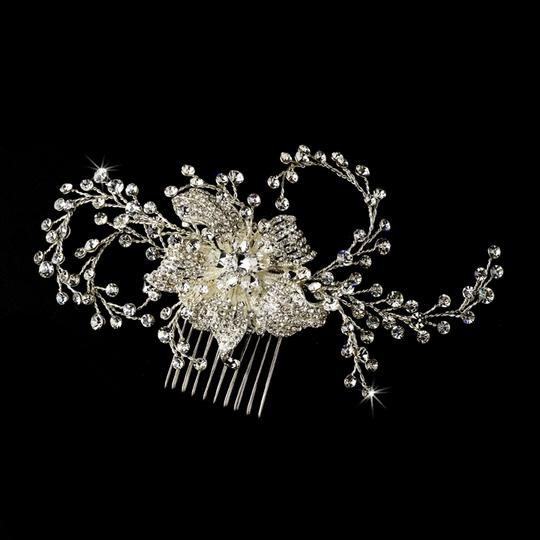 Silver Couture Rhinestone Crystal Flower Comb Hair Accessory