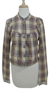 Free People Bomber Collarless Button Up plaid Jacket