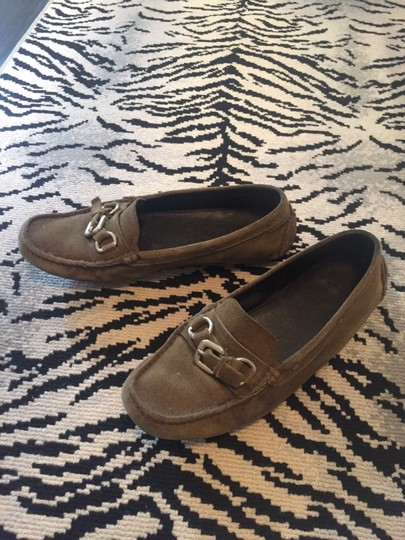 Prada Loafers Drivers Suede Olive green Flats Image 1