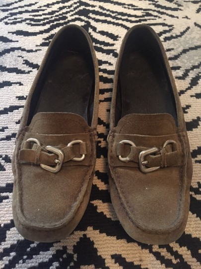 Prada Loafers Drivers Suede Olive green Flats Image 3