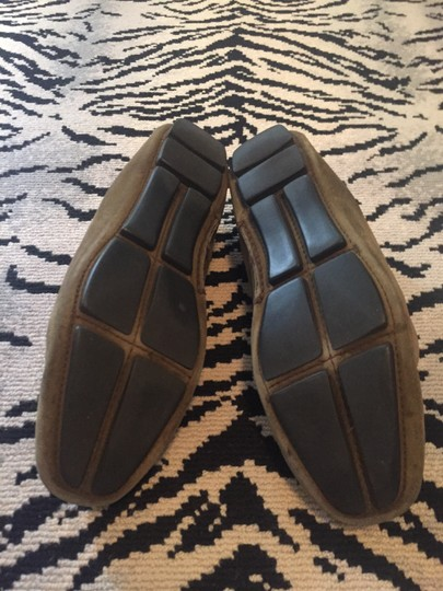 Prada Loafers Drivers Suede Olive green Flats Image 4