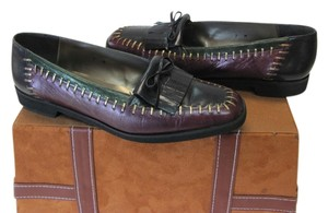 MARGARET J Very Good Condition Black, Wine, Green, Gold Flats