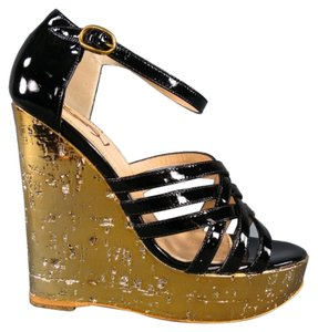 Saint Laurent Metallic Gold Strappy Patent Leather Tom Ford Black Wedges