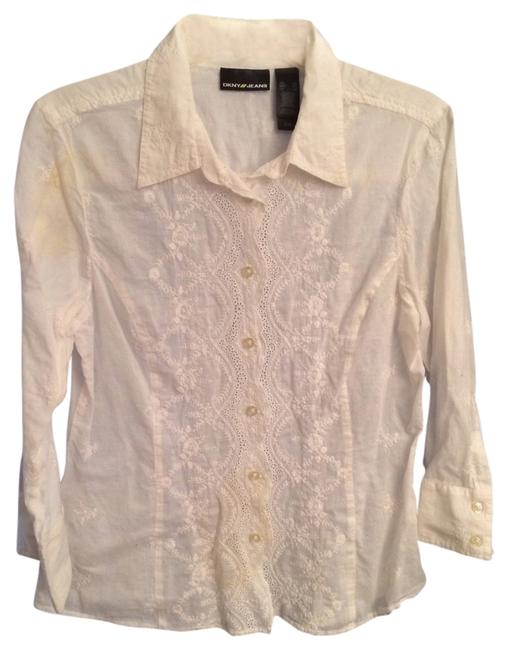 Preload https://item3.tradesy.com/images/dkny-white-fitted-blouse-size-14-l-707982-0-0.jpg?width=400&height=650