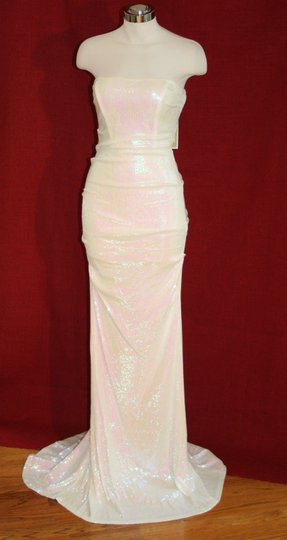 Nicole Miller White 95% Viscose 5% Elastane Strapless Shimmering Sequin Bridal Gown Dd0117 Formal Wedding Dress Size 10 (M)