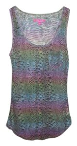 GLO Jeans Juniors Kmart Burnout Burnout Rainbow Pattern Patterned Animal Print See Through Sheer Top Multi