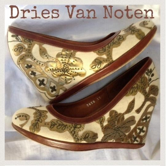 Dries van Noten off white, brown and gold Wedges