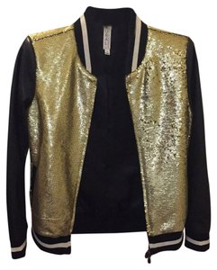 Mural Gold sequin/Black and white Leather Jacket