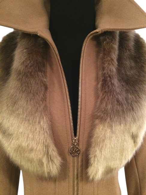 Item - Camel/Wool Blend Gold Zip Front with Optional Hood New Xsmall Coat Size 0 (XS)