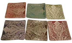 Crate & Barrel Gold Embroidered Coaster Set for 6 - NEW