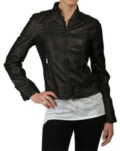 Miss Sixty Faux Leather Ruffle Leather Jacket