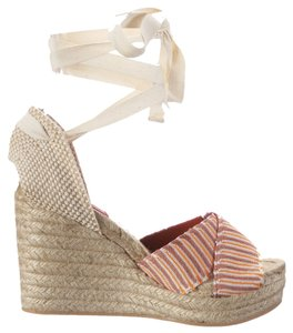 Missoni Espadrille Wedge Platform Orange/Taupe/Ivory Multi Platforms
