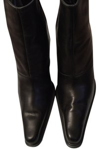 United Colors of Benetton Leather Zipper Up The Side Black Boots