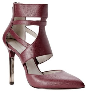 Pour La Victoire Leather Stiletto Cutout Pointed Toe Burgundy Pumps
