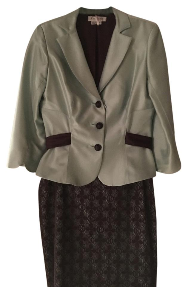 7cd5ae78fd5 Kay Unger Mint  Brown Silk Two Piece Skirt Suit Size 8 (M) - Tradesy