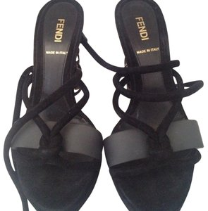 Fendi Designer Runway Rocker Chic Sophisticated Suede Strappy Heels Sandal Black Platforms