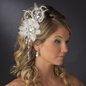 Silver Vintage Feather Fascinator with Dangling Crystals Clip Or Brooch Hair Accessory