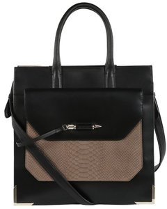 Mackage Commuter Laptop Tote in Black and Tan