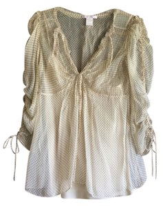 Rebecca Taylor Top Ivory with brown polka dots