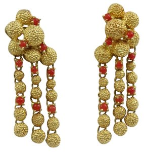 Cartier 1960s Cartier Cabochon Coral Gold Chandelier Earrings