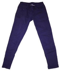 A|X Armani Exchange Dark Skinny Leg Petite Skinny Pants Plum/Dark Purple