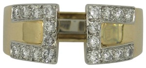 David Webb David Webb Diamond Gold Platinum Key Design Split Front Ring
