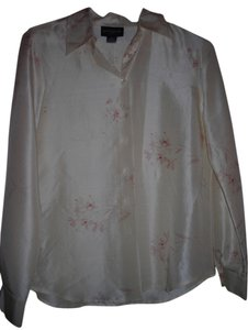 Ann Taylor Button Down Shirt Cream with light flower