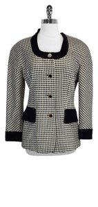Escada Black Gold Houndstooth Wool Blend Jacket