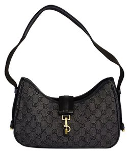 Gucci Gray Black Monogram Canvas Baguette