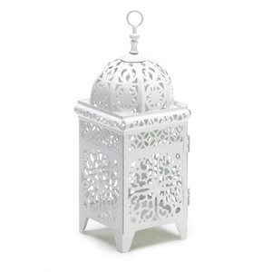 10 White Moroccan Lanterns Filigree Candle Holders Free Shipping