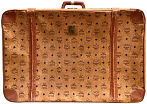 MCM Visetos Suitcase Luggage Trunk Cognac Brown Travel Bag