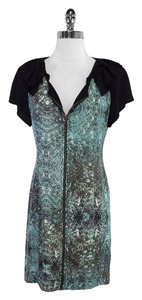 Vena Cava short dress Black Teal Print Silk on Tradesy