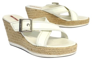 Prada White Patent Leather Espadrille Wedges