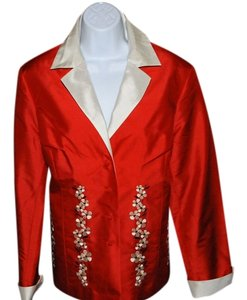 Victor Costa New Never Worn Evening Wear Silk Knotted Buttons Flair Red Multi Blazer