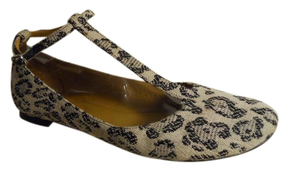 24947ee828cf See by Chloé Black & White Animal Print T Strap Flats Size US 7.5 ...
