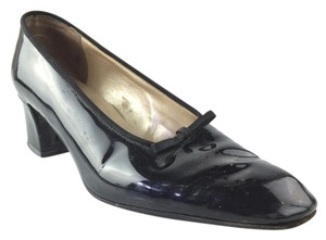 Saks Fifth Avenue Chunky Patent Leather Black Pumps