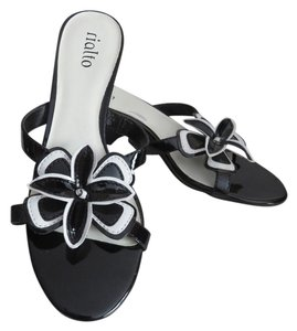 Rialto Black Patent Leather Black, White Sandals