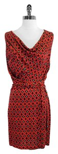 Diane von Furstenberg short dress Red Black Print Silk Wrap on Tradesy